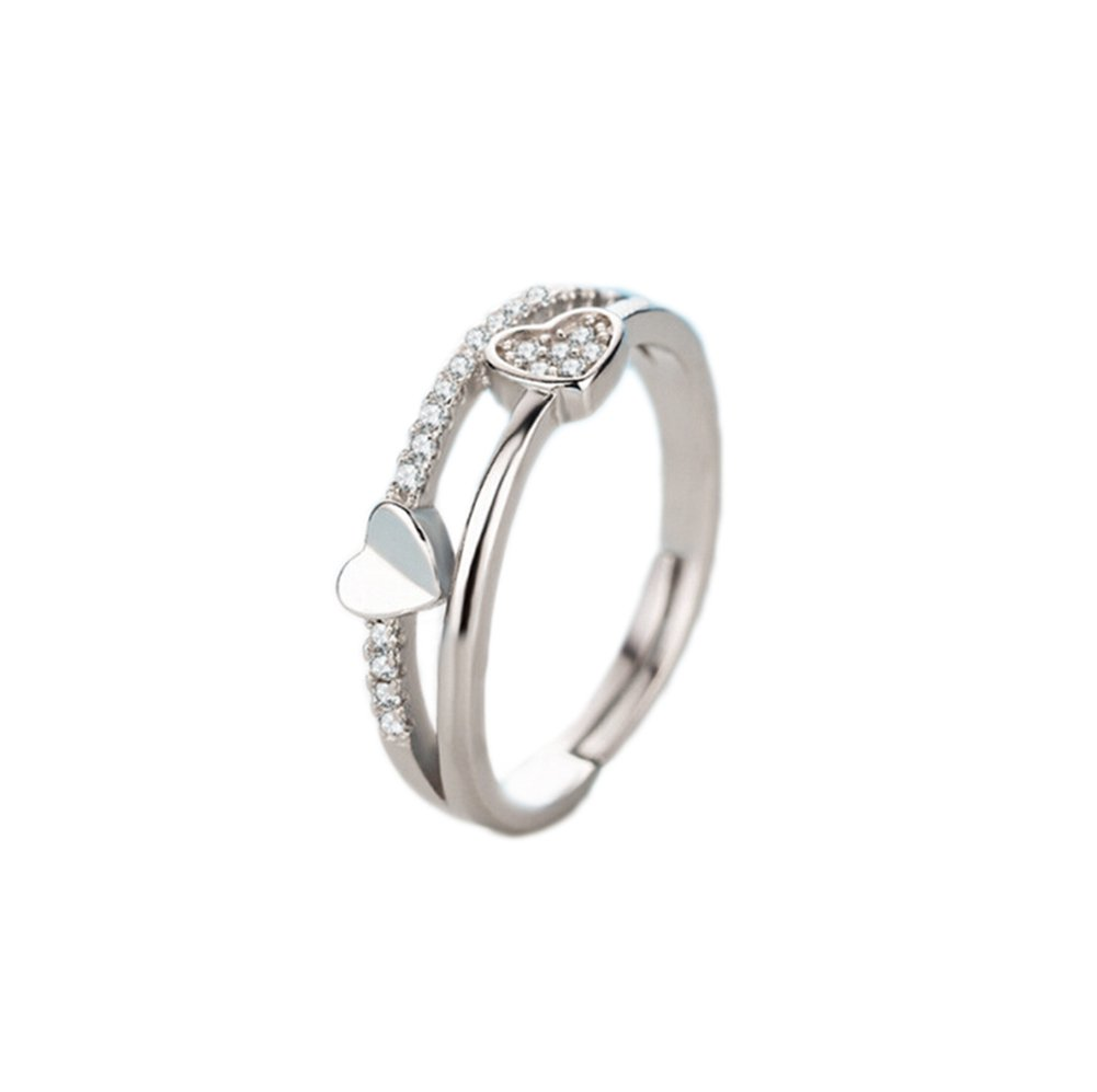Topdo 1pcs élégant en forme de coeur en diamant cristal Anneaux Ouverts Mariage Bijoux pour femme