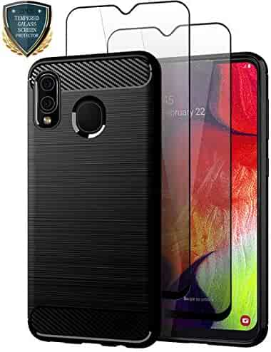 Teayoha Samsung Galaxy A20 Case with Tempered Glass Screen Protector [2 Pack], Carbon Fiber Scratch Resistant, Shock Absorption Soft TPU Drawing Protective Cases Cover for Galaxy A20 - Black
