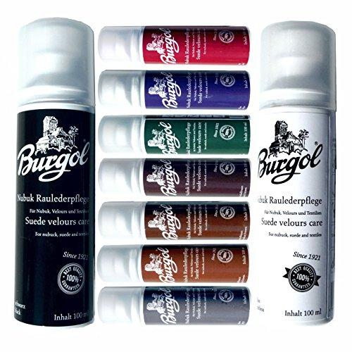Burgol Nubuk Raulederpflege 100 ml, Wildlederpflege für Nubuk Velour und Textilien 9 Farben (schwarz)