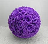 10 PCS HOT SELL Colorful High ,Quality 15-40CM Rose Pomander Flower Kissing Ball Color:Purple Size:Diameter:25cm 9.8''