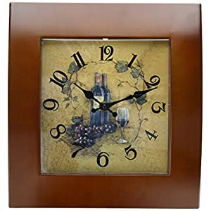 Creative Motion 22034-2 Wall Clock with Wooden Frame and Wine Design