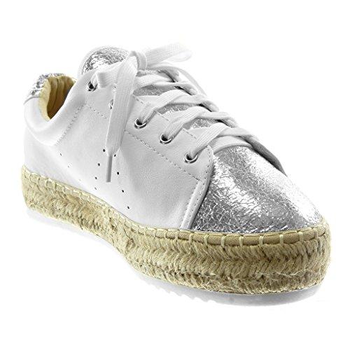 Talon Mode Tréssé Femme Angkorly Plateforme Cm Argent Tennis Chaussure Sporty 3 Perforée Plat Chic Espadrille Baskets Corde HP8w7P5q