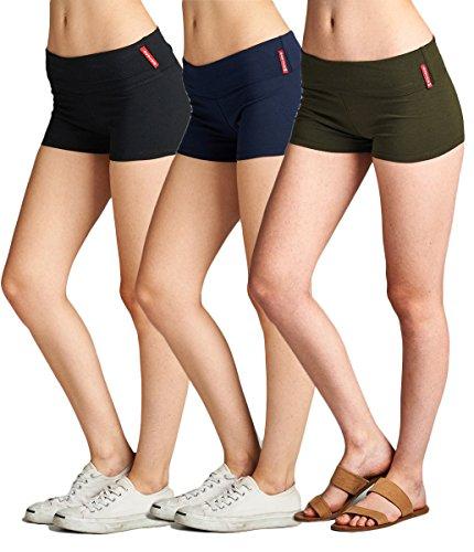 Emmalise Active Junior Women Fold Over Low Rise Short Cotton Spandex Yoga Workout Dance - 3Pk - Black Navy Olive, (Cotton Low Rise Shorts)