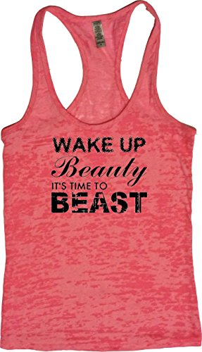 (Orange Arrow Womens Workout Clothing (M, Neon) - Wake Up Beauty Time to Beast - Yoga and Zumba Tank Top)
