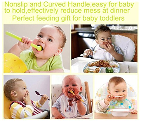 Reizbaby Easy-to-Hold Baby Spoon and Fork Set with Curved Handle Gum-Friendly BPA Free Feeding Gift for Toddlers 6 Pcs by REIZBABY (Image #5)