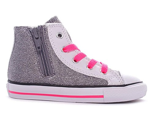 huck Taylor Side Zip Hi Silver/White/Neon Pink (US 5 Toddler) ()