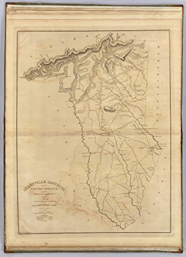 Greenville District South Carolina 1825 - County Wall Map - Homeowner names - Mills Atlas - LC - Old Map Reprint -