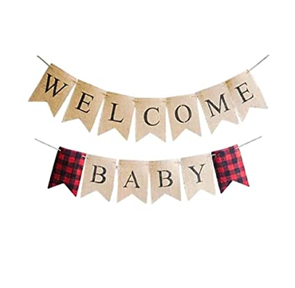 Amazon Com Welcome Baby Banner Home Decor For Newborn Boy Or Girl S