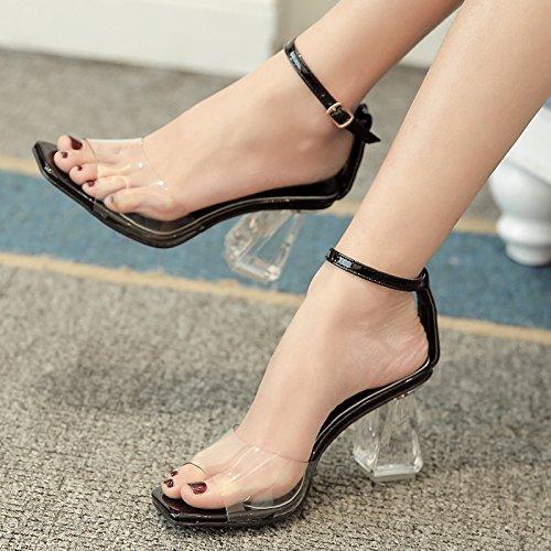 Sandalias Mujer Toe Transparente De Moda Tacón De Leaky SHOESHAOGE Verano Color sólido De De Una Cristal Hebilla Palabra Mujer Con De Tacones Zapatos ZSCZxwqR