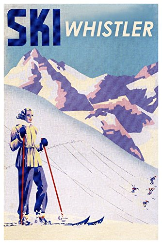 lumbia, Canada - Ski - Woman Skiing - Vintage Travel Poster Press (24x36 SIGNED Print Master Giclee Print w/Certificate of Authenticity - Wall Decor Travel Poster) ()