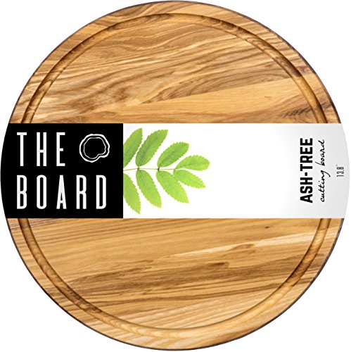 Wood Cutting Board 13'' Round Ash Wood Cutting board More Reliable than Bamboo Cutting Board and Plastic Cutting Boards Serving board Chopping Board by The Board