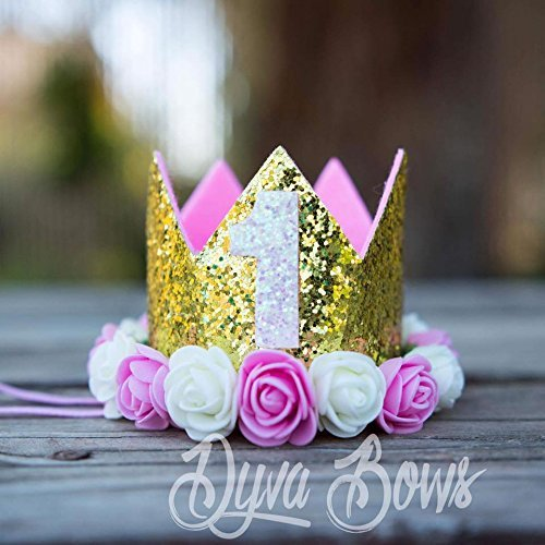 crown headband - girls first birthday headband - princess tiara girl - first birthday - 1 crown - one crown - flower crown - girls crown - gold glitter crown - pink and white flower crown headband
