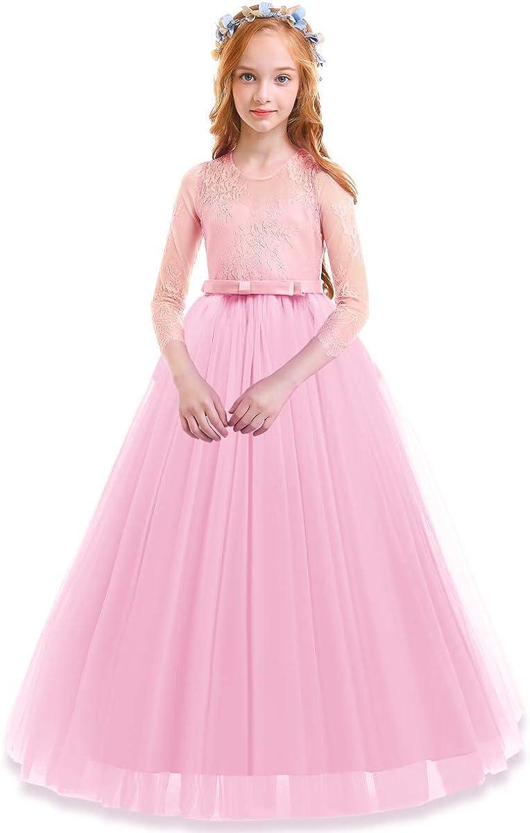 Kids Baby Girls Princess Dress Flower Party Wedding Bridesmaid Knee-Length Dress
