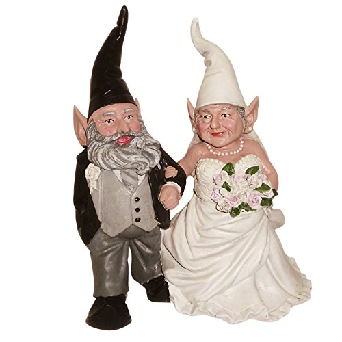 "Nowaday Gnomes Bride & Groom Wedding Gnome Married Couple Home & Garden Gnome Collectible Statue 8"" H"