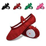 L-RUN Children's Ballet Slipper Shoes Split-Sole Dance Flat for Girls Red
