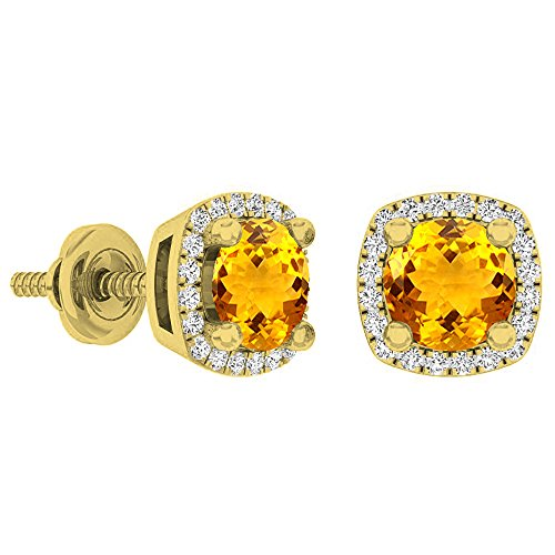 Dazzlingrock Collection 18K 5 MM Each Round Citrine & White Diamond Ladies Halo Stud Earrings, Yellow Gold
