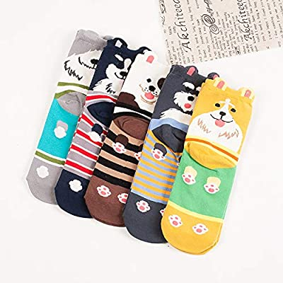 Pack of 5 Sweet Animal Design Women's Casual Comfortable Cotton Crew Socks, Style 1, One Size (5-8.5) at Women's Clothing store