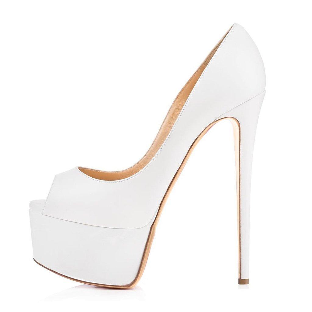Kolnoo Damenschuhe Damenschuhe Damenschuhe High Heels Peep Toe Pumps mit Plateau Weiß Große Größe 9a09db