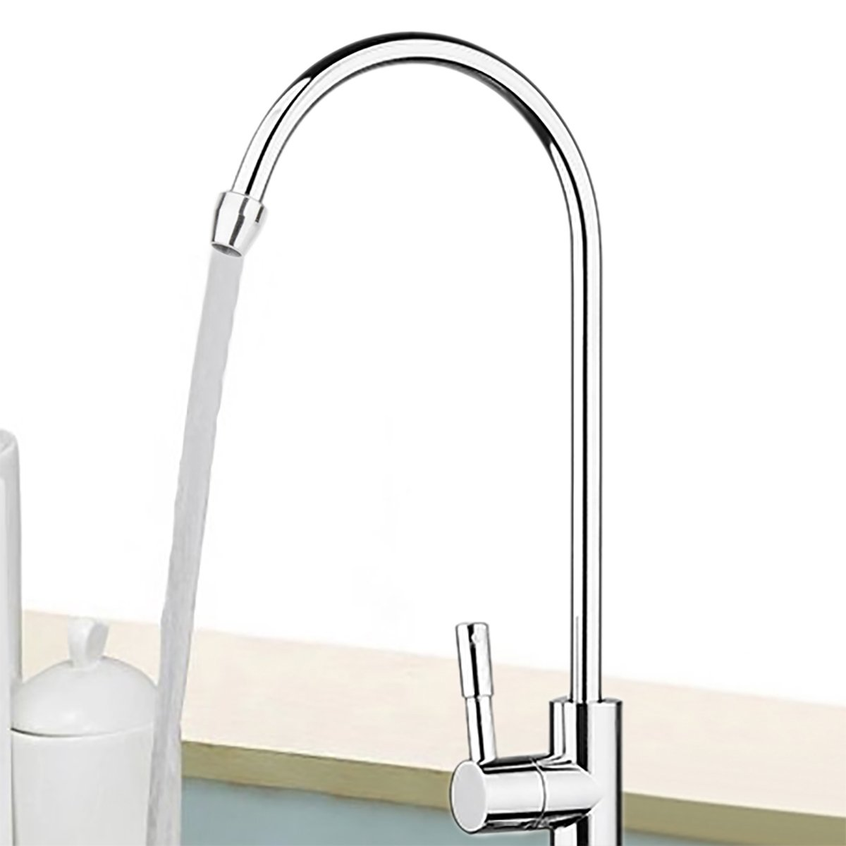 KINWAT 1pc 304 Stainless Steel Water Filter Faucet 1/4'' 360 Degree Chrome Osmosis Drinking RO Finish Reverse Sink Faucets by KINWAT (Image #4)