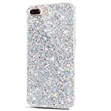iPhone 8 Plus Case,iPhone 7 Plus Case,ikasus Sparkly Shiny Glitter Bling Powder 3D Diamond Paillette Slim Glitter Flexible Soft Rubber Gel TPU Protective Case Cover for iPhone 8 Plus / 7 Plus,Silver