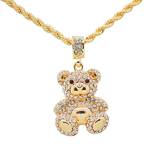Yellow Gold-Tone Hip Hop Bling Teddy Bear Pendant with 24
