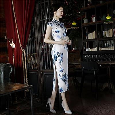 884c6c8446394 (上海物語)Shanghai Story ロング丈 チーパオ チャイナ服 民族衣装 半袖 中華ドレス