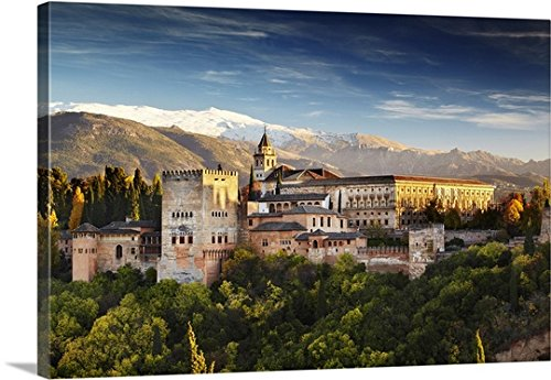 Canvas On Demand Premium Thick-Wrap Canvas Wall Art Print entitled Spain, Andalusia, Granada, Alhambra Palace, Alhambra Palace at night by Canvas on Demand