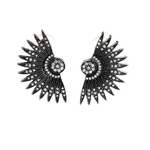 [Habeats Black Art Deco Fan Feather Chunky Stud Earrings] (50s Costumes Jeans)