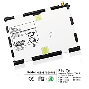 ZWXJ Replacement Battery EB-BT550ABE?3.8V 22.8WH 6000MAH?For Samsung Galaxy Tab A 9.7-Inch Tablet SM-T550 SM-P550 SM-T555C SM-T555 T550 T555 P550 by ZWXJ