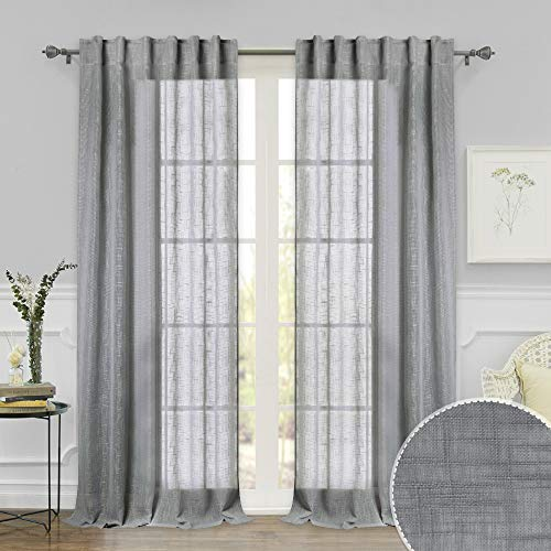 RYB HOME Sheer Curtains with Linen Texture Casual Wave Pattern, American Country Style Curtains for Farmhouse/Patio Sliding Glass Door/French Door/Living Room, Grey, 52 inch x 95 inch, 2 Pcs (Patio Curtains Door Style Country)