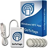 ACR122U USB NFC Tag Reader & Writer + FREE GoToTags Microsoft Windows NFC Software + 5 Bonus NTAG213 NFC Tags