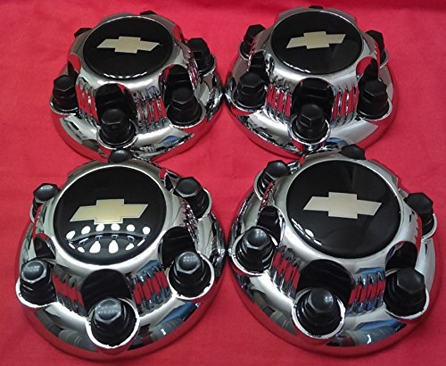 4 piece SET Chrome Chevy Silverado 6 Lug 1500 Center Caps 16'' 17'' Steel Wheels BLACK logo by Replacement (Image #1)