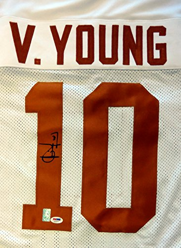 TEXAS LONGHORNS VINCE YOUNG AUTOGRAPHED WHITE JERSEY PSA/DNA STOCK #85965