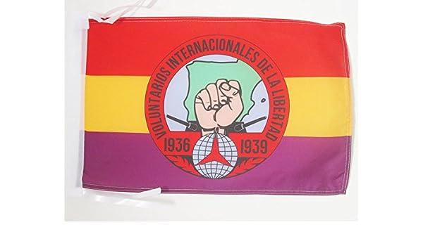 AZ FLAG Bandera de ESPAÑA Republicana Voluntarios Libertad 45x30cm - BANDERINA BRIGADES INTERNCIONALES Republica ESPAÑOLA 30 x 45 cm cordeles: Amazon.es: Hogar