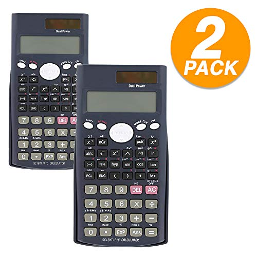 Emraw 240 Functions Scientific Calculator with Slide-On Case Electronic Large Display Battery Included Big Buttons Handheld Standard Functional Office Scientific Calculator (Pack of 2)