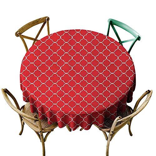 (Round Tablecloth Quatrefoil,Arabesque Style Motifs Oriental Royal Floral Petal Pattern Moroccan Print,Vermilion White,for Accent Table )