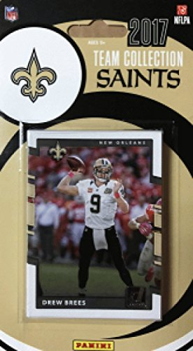 2017 Donruss Football Factory New Orleans Saints Team Set of 12 Cards: Ted Ginn Jr.(#7), Michael Thomas(#16), Mark Ingram(#80), Willie Roaf(#101), Coby Fleener(#131), John Kuhn(#147), Cameron Jordan(#150), Drew Brees(#200), Willie Snead(#267), Adrian Peter