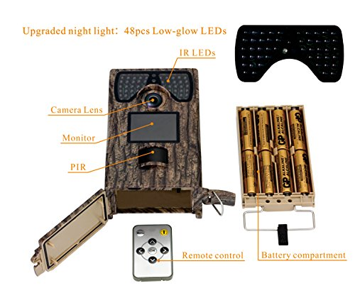 VENLIFE Trail Camera 12MP Full HD 1080P 90 PIR Sensor Wildlife Hunting Camera 65ft Infrared Scouting Camera with Night Vision 48pcs IR LEDs IP55 Waterproof 02s Trigger Time Game Camera Game Finders