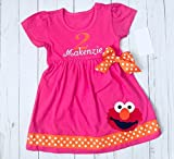 Elmo Birthday Dress outfit in hot pink- personalized with your child's name and birthday number