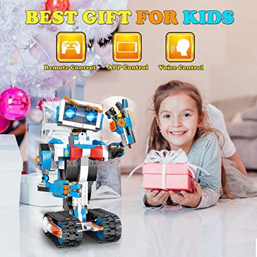 51 C8JY nZL. AC  - okk STEM Robot Building Block Toy for Kids, Remote and APP Controlled Engineering Science Educational Assembling Learning Kits Intelligent Rechargeable Creative Set for Boys Girls Gift (635 Pieces)
