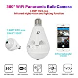JANEDI WiFi Bulb Camera 1536P VR Panoramic Security Camera with 360 Degree Fisheye Home Led Lights IP Camera Hidden Camera Home Security System for Android iOS APP White