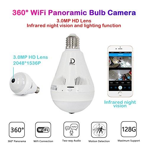 JANEDI WiFi Bulb Camera 1536P VR Panoramic Security Camera with 360 Degree Fisheye Home Led Lights IP Camera Hidden Camera Home Security System for Android iOS APP White by JANEDI