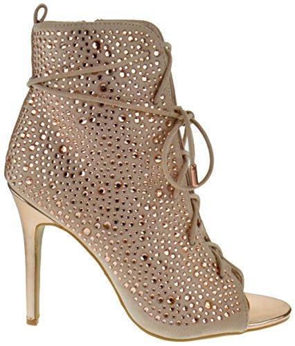 Anne Michelle Royals 58s Donna Strass Open Toe Sandali Stiletto In Oro Rosa
