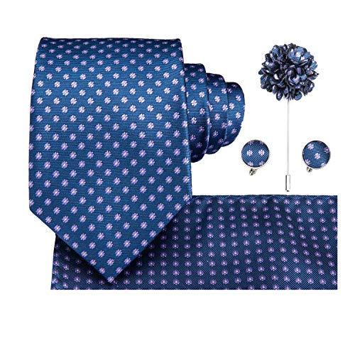 - Dubulle Wedding Blue Necktie and Lapel Pin Set for Men with Pocket Square Handkerchief