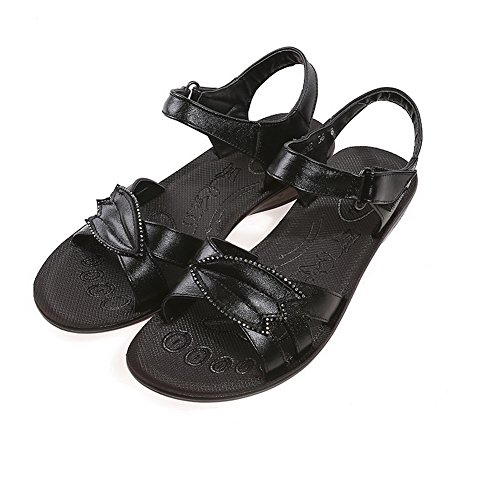 AmoonyFashion Womens Open Toe Low-heels Soft Material Solid Hook-and-loop Wedges-Sandals Black kFCY2FFnA
