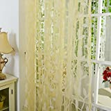 """Norbi Willow Voile Tulle Room Window Curtain Sheer Voile Panel Drapes Curtain 39.4'' x 78.8"""" L (Yellow)"""