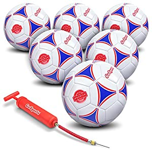 GoSports Premier Soccer Ball with Premium Pump (Single Ball or 6 Pack in All Sizes)