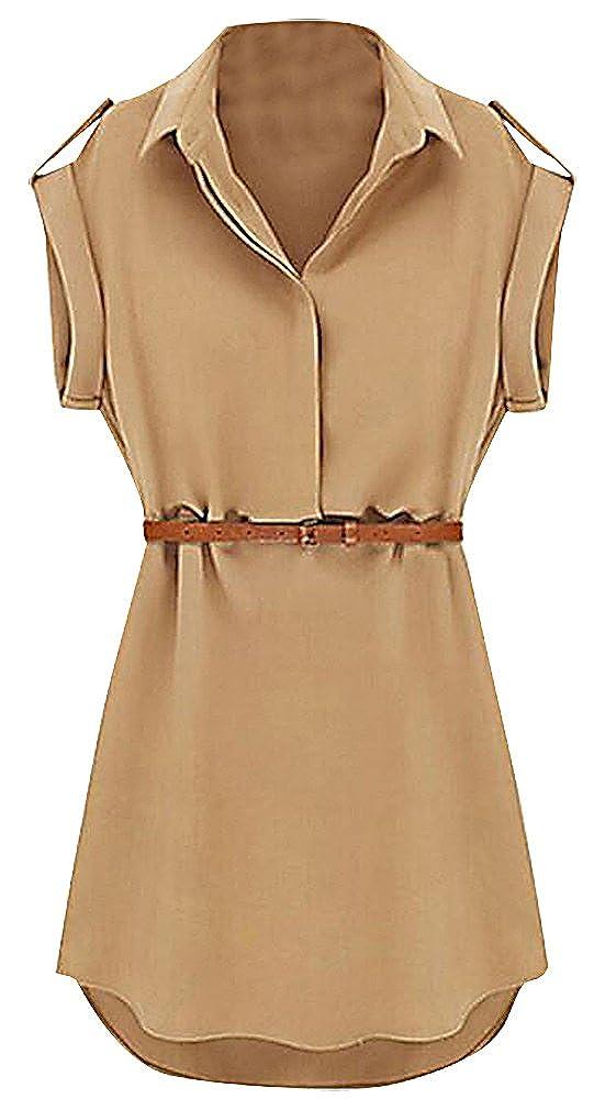 fa0958169d0 US R Women s Black Beige Cap Sleeve Belted V Neck Safari Style Mini Shirt  Dress at Amazon Women s Clothing store