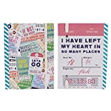 """A6+ Hardcover Notebook - """"Travel Adventures"""" Design – 160 Pages – Ruled - Size - 5.9 X 4.4"""