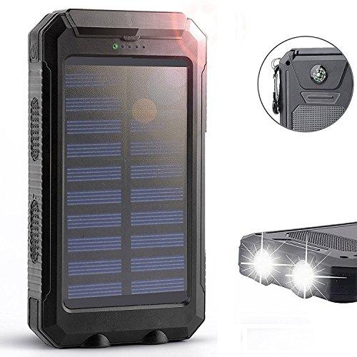 Waterproof 50000mAh USB Solar Charger Power Bank (Black) - 1